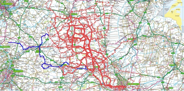 Place's I have cycled to from Little Bytham (updated 11/04/2013)