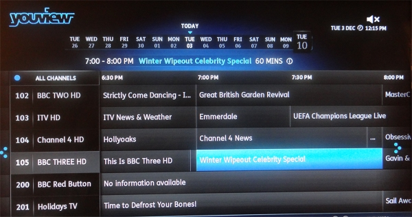 YouView EPG showing Three HD data