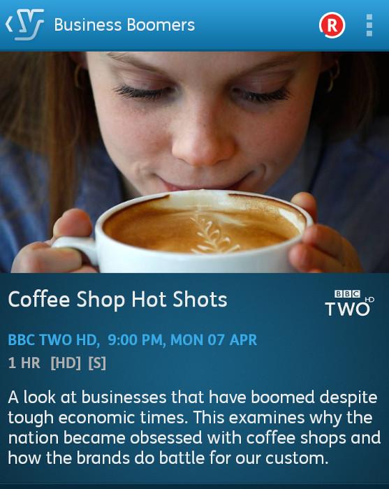 Coffee Shop Hot Shots: Business Boomers (YouView app screenshot)