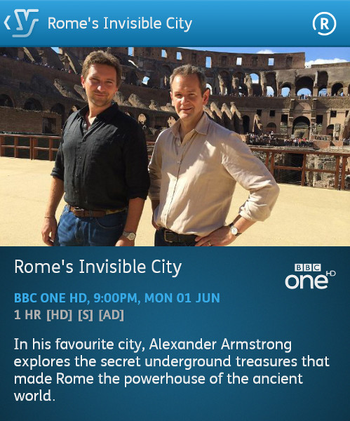 Rome's Invisible City - 01-06-2015 (YouView app)