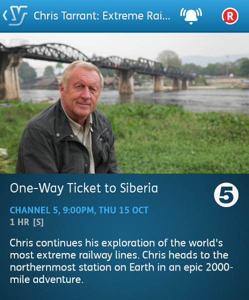 Chris Tarrant: Extreme Railwa -Journeys - 15-10-2015 - YouView app