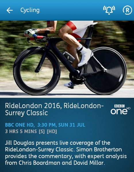 Cycling - RideLondon Classique - 31-07-2016 - YouView app