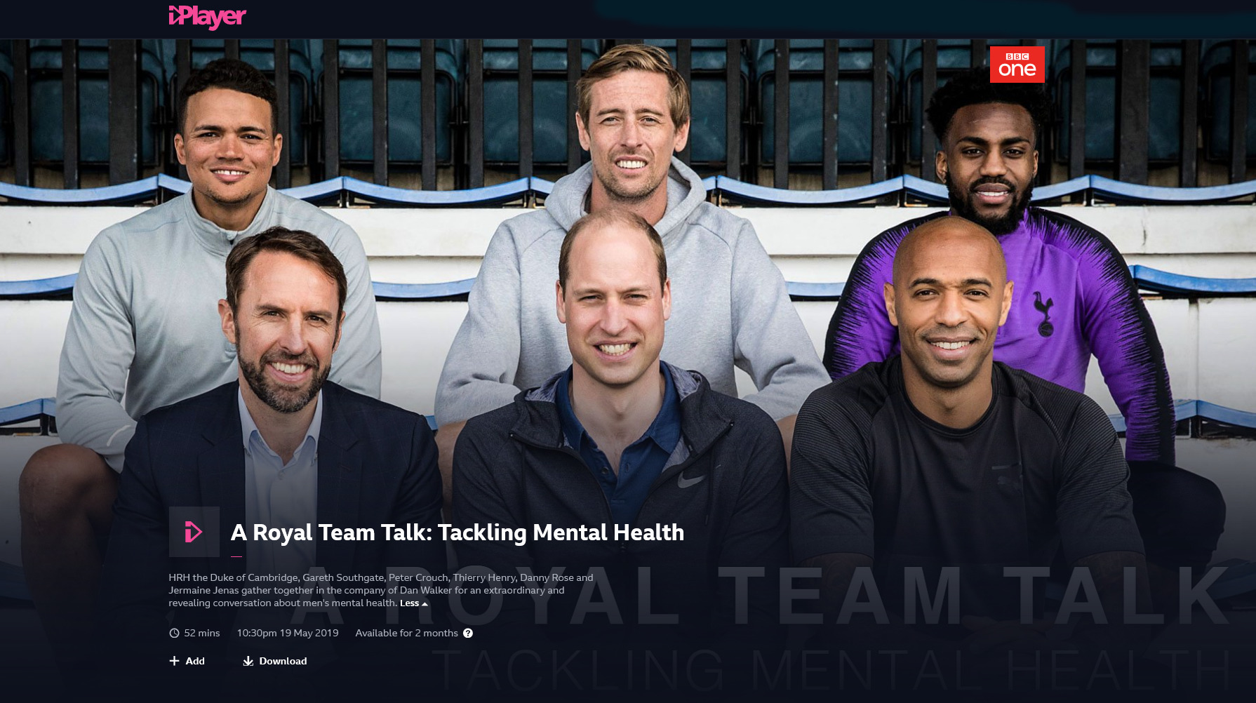 A Royal Team Talk: Tackling Mental Heath on BBC iPlayer