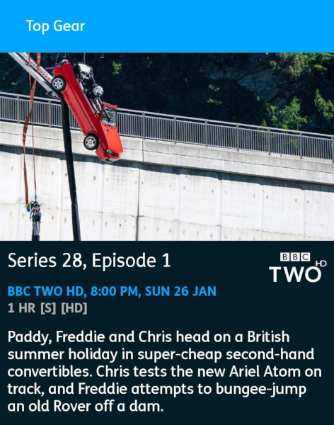 Top Gear - 26-01-2020 - YouView app
