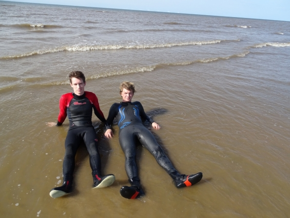 Nick and myself both wetsuited