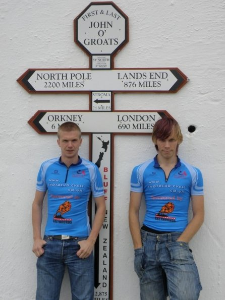 Mike and myself at the unofficial sign post, John O'Groats