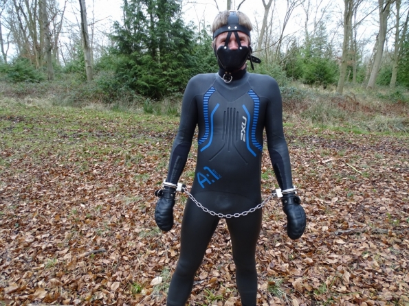 Totally helpless in Fetters Padded Fist Mitts & Padded Leather Muzzle