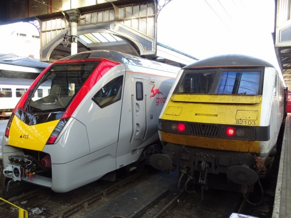 Class 755 and Class 90 at Norwich railway station