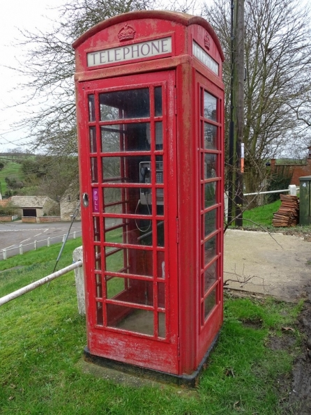 Red telephone box at Castle Bytham